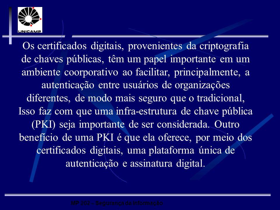 MP 202 – Segurança da Informação Os certificados digitais, provenientes da criptografia de chaves públicas, têm um papel importante em um ambiente coo