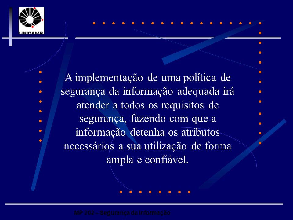 MP 202 – Segurança da Informação A implementação de uma política de segurança da informação adequada irá atender a todos os requisitos de segurança, f