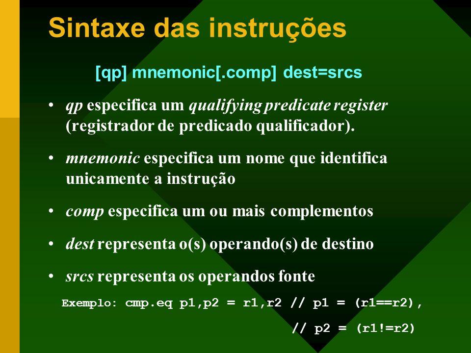 Sintaxe das instruções [qp] mnemonic[.comp] dest=srcs qp especifica um qualifying predicate register (registrador de predicado qualificador). mnemonic