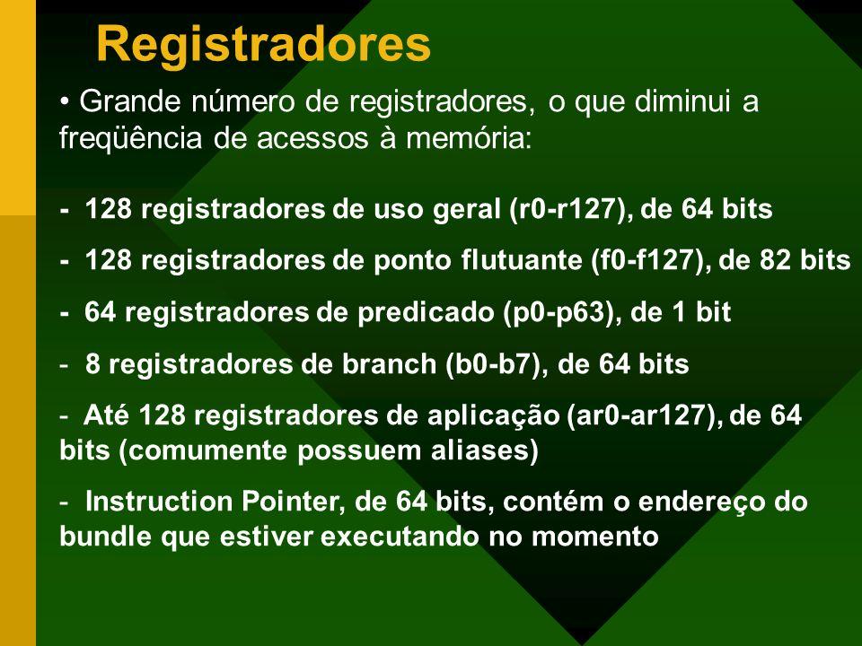 Registradores Grande número de registradores, o que diminui a freqüência de acessos à memória: - 128 registradores de uso geral (r0-r127), de 64 bits