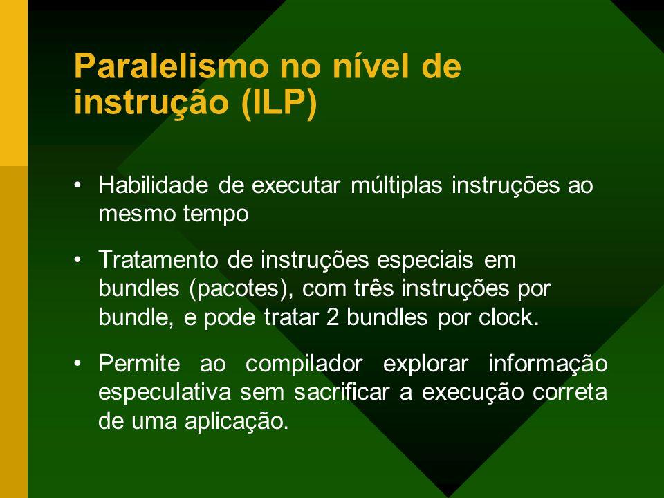 Paralelismo no nível de instrução (ILP) Habilidade de executar múltiplas instruções ao mesmo tempo Tratamento de instruções especiais em bundles (paco