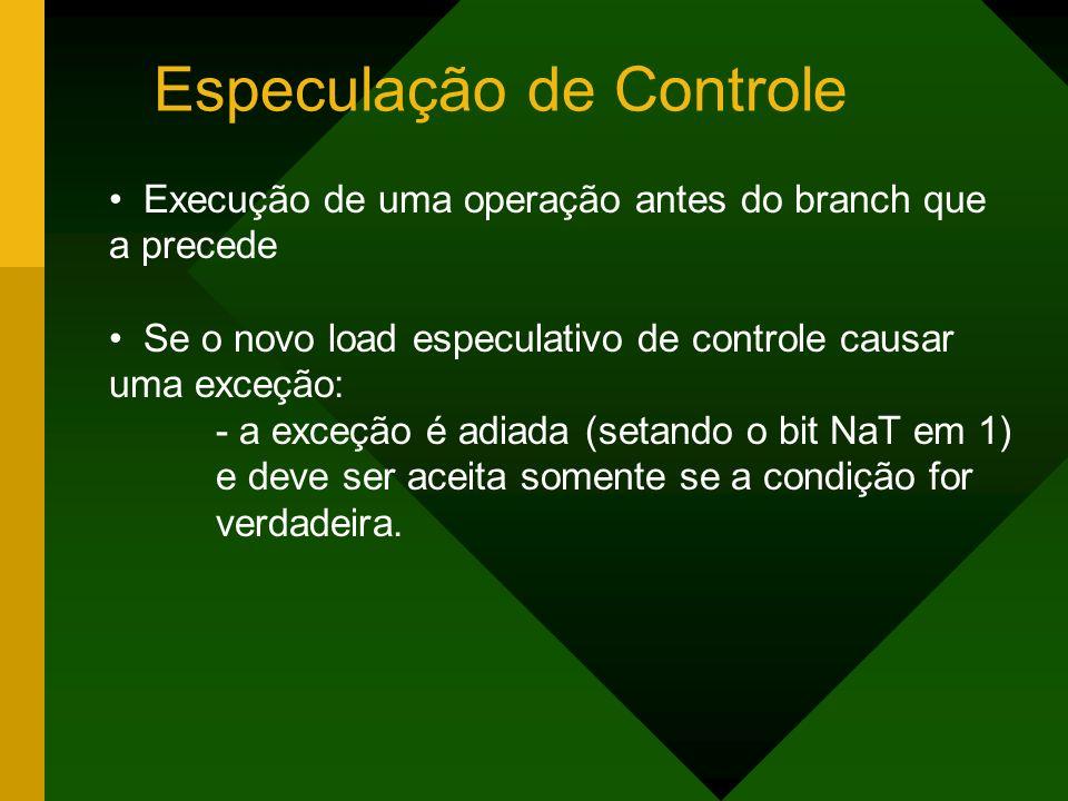 Especulação de Controle Execução de uma operação antes do branch que a precede Se o novo load especulativo de controle causar uma exceção: - a exceção