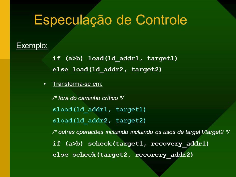Especulação de Controle if (a>b) load(ld_addr1, target1) else load(ld_addr2, target2) Transforma-se em: /* fora do caminho crítico */ sload(ld_addr1,