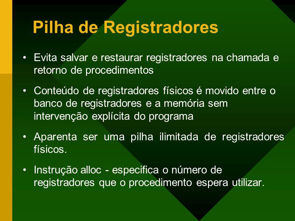 Pilha de Registradores Evita salvar e restaurar registradores na chamada e retorno de procedimentos Conteúdo de registradores físicos é movido entre o