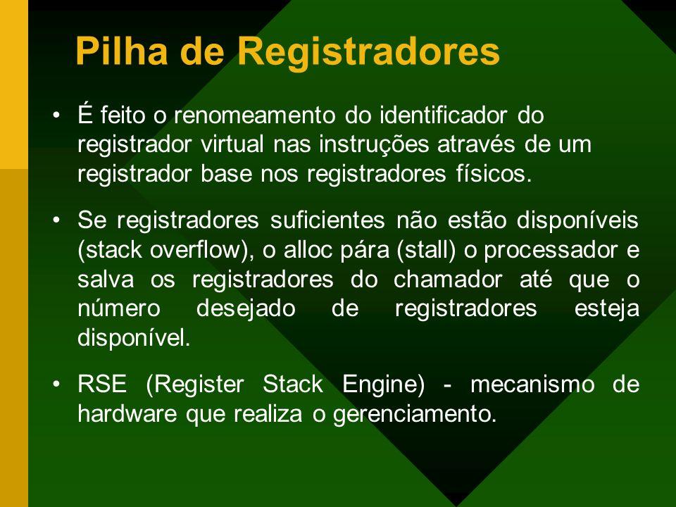 Pilha de Registradores É feito o renomeamento do identificador do registrador virtual nas instruções através de um registrador base nos registradores