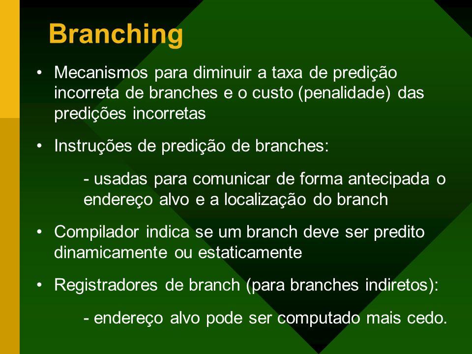 Branching Mecanismos para diminuir a taxa de predição incorreta de branches e o custo (penalidade) das predições incorretas Instruções de predição de