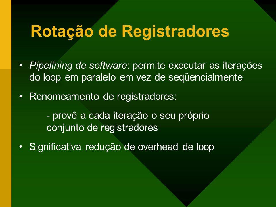 Rotação de Registradores Pipelining de software: permite executar as iterações do loop em paralelo em vez de seqüencialmente Renomeamento de registrad