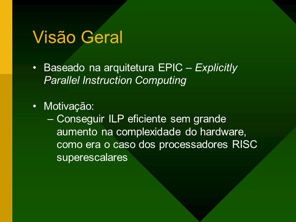 Visão Geral Baseado na arquitetura EPIC – Explicitly Parallel Instruction Computing Motivação: –Conseguir ILP eficiente sem grande aumento na complexi