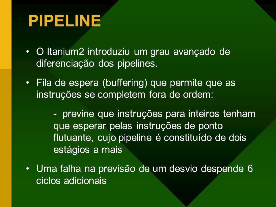 PIPELINE O Itanium2 introduziu um grau avançado de diferenciação dos pipelines. Fila de espera (buffering) que permite que as instruções se completem