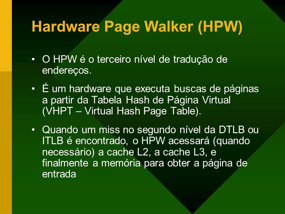 Hardware Page Walker (HPW) O HPW é o terceiro nível de tradução de endereços. É um hardware que executa buscas de páginas a partir da Tabela Hash de P
