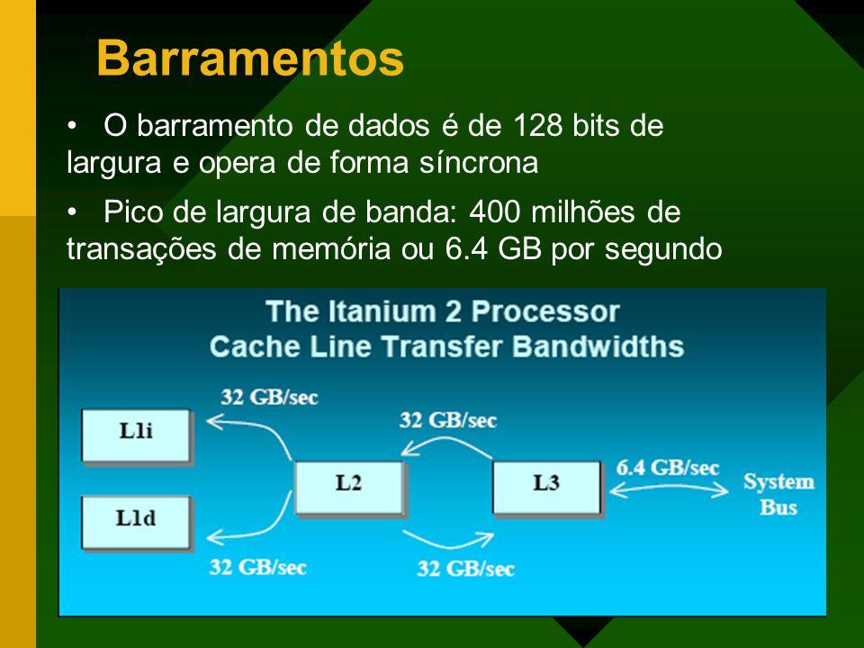 Barramentos O barramento de dados é de 128 bits de largura e opera de forma síncrona Pico de largura de banda: 400 milhões de transações de memória ou