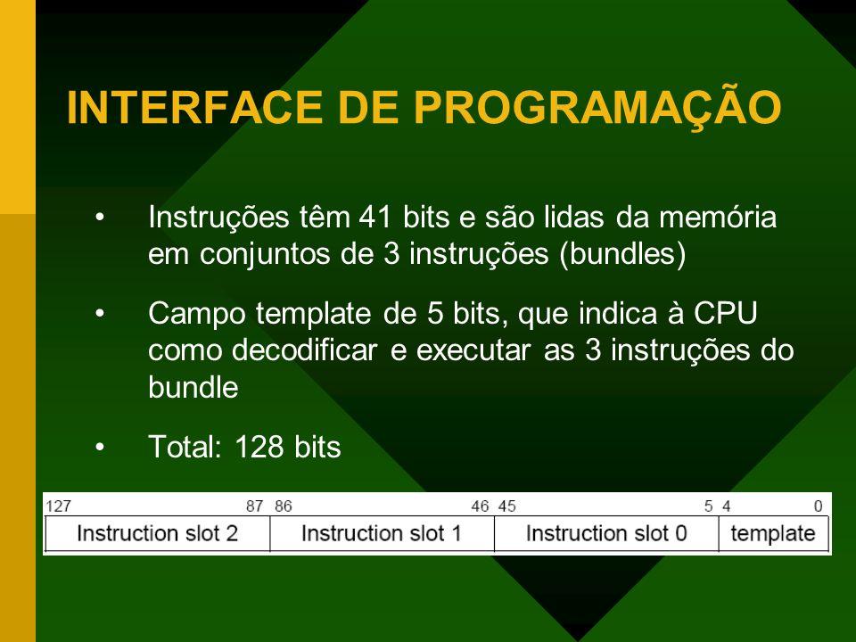 INTERFACE DE PROGRAMAÇÃO Instruções têm 41 bits e são lidas da memória em conjuntos de 3 instruções (bundles) Campo template de 5 bits, que indica à C