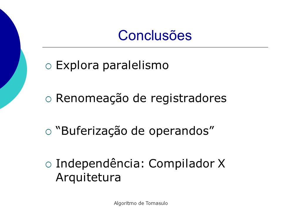 Algoritmo de Tomasulo Conclusões Explora paralelismo Renomeação de registradores Buferização de operandos Independência: Compilador X Arquitetura