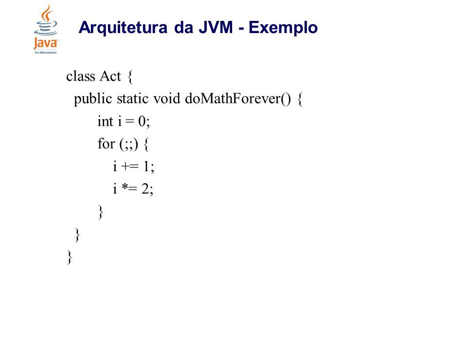 Arquitetura da JVM - Exemplo class Act { public static void doMathForever() { int i = 0; for (;;) { i += 1; i *= 2; }