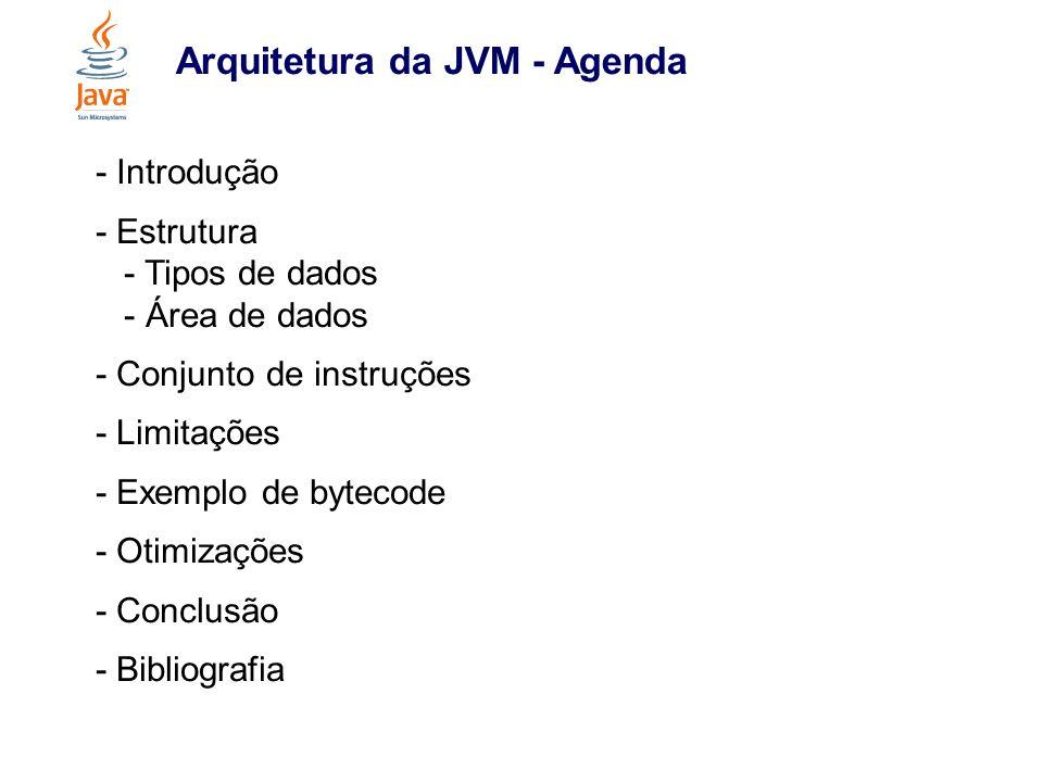 Arquitetura da JVM - Introdução - motivação: portabilidade - um novo nível de abstração - trabalha com bytecodes - pode ser implementada em diversas arquiteturas - formato de arquivo class - subsistemas, área de memória, tipos de dados e instruções