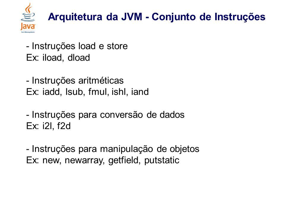 Arquitetura da JVM - Conjunto de Instruções - Instruções para gerenciamento da pilha (operand stack) Ex: pop, dup, swap - Instruções de controle Ex: ifeq, ifnull, ifnonnull, goto - Instruções de chamada e retorno de métodos Ex: invokevirtual, invocstatic