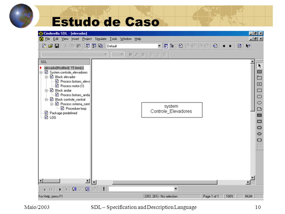 Maio/2003SDL – Specification and Description Language10 Estudo de Caso