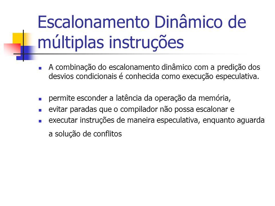 Escalonamento Dinâmico de múltiplas instruções A combinação do escalonamento dinâmico com a predição dos desvios condicionais é conhecida como execuçã