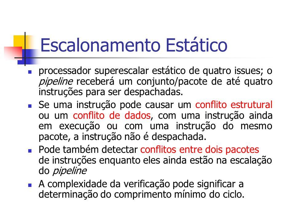 Escalonamento Estático processador superescalar estático de quatro issues; o pipeline receberá um conjunto/pacote de até quatro instruções para ser de