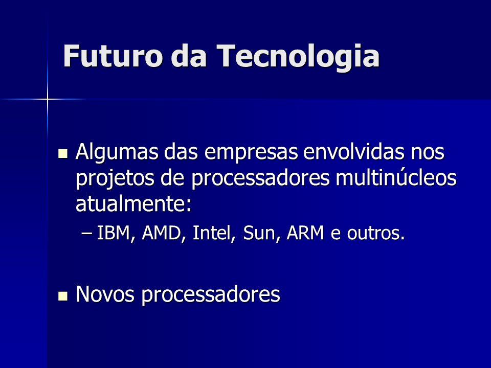 Futuro da Tecnologia Algumas das empresas envolvidas nos projetos de processadores multinúcleos atualmente: Algumas das empresas envolvidas nos projet