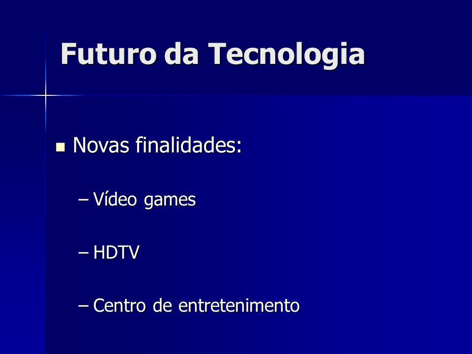 Novas finalidades: Novas finalidades: –Vídeo games –HDTV –Centro de entretenimento