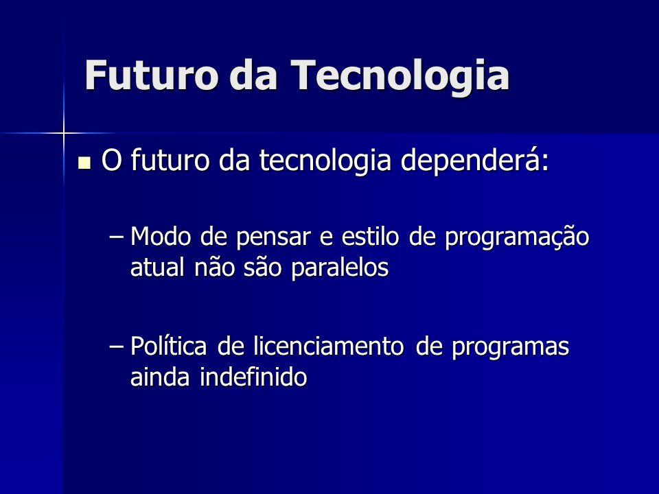 O futuro da tecnologia dependerá: O futuro da tecnologia dependerá: –Modo de pensar e estilo de programação atual não são paralelos –Política de licen