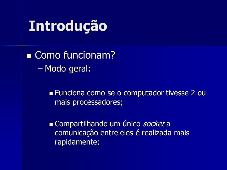 Introdução Como funcionam? Como funcionam? –Modo geral: Funciona como se o computador tivesse 2 ou mais processadores; Funciona como se o computador t