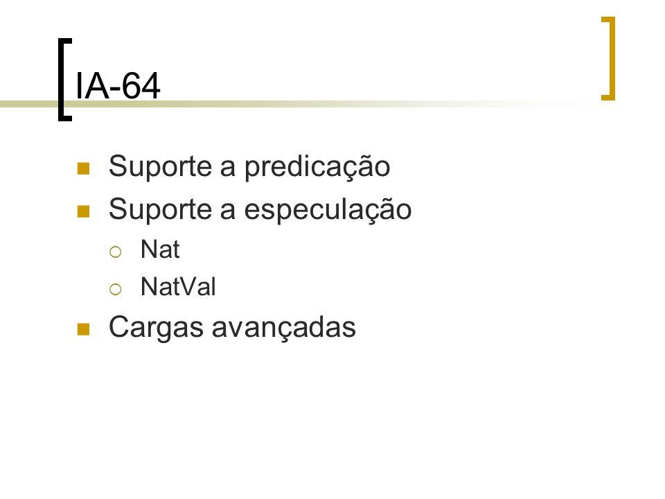Suporte a predicação Suporte a especulação Nat NatVal Cargas avançadas