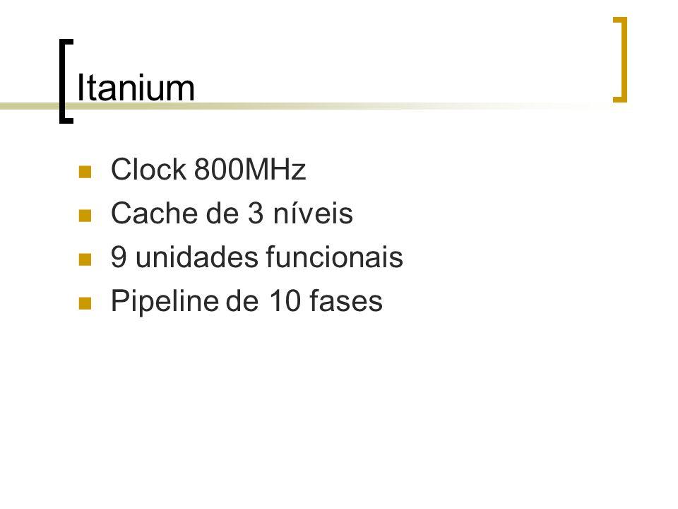 Itanium Clock 800MHz Cache de 3 níveis 9 unidades funcionais Pipeline de 10 fases