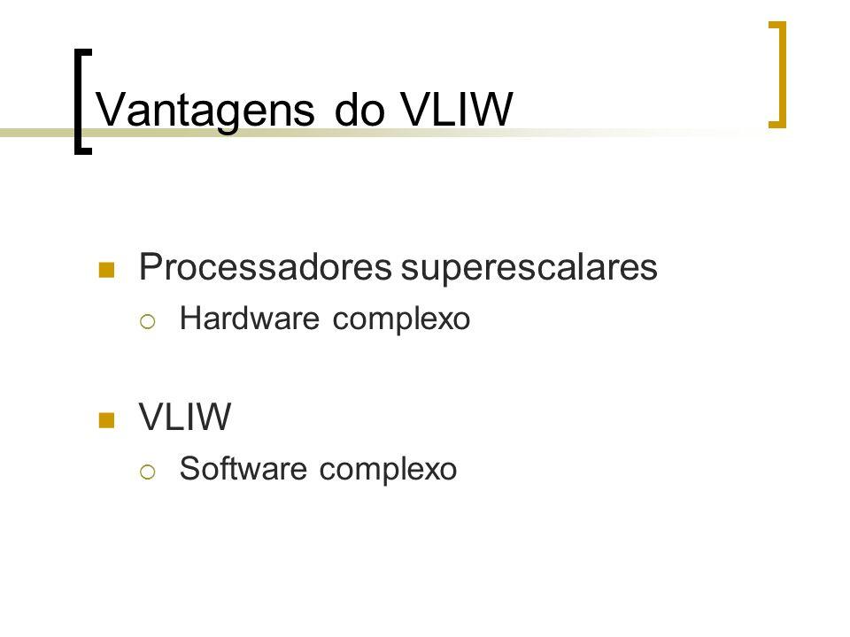 Vantagens do VLIW Processadores superescalares Hardware complexo VLIW Software complexo