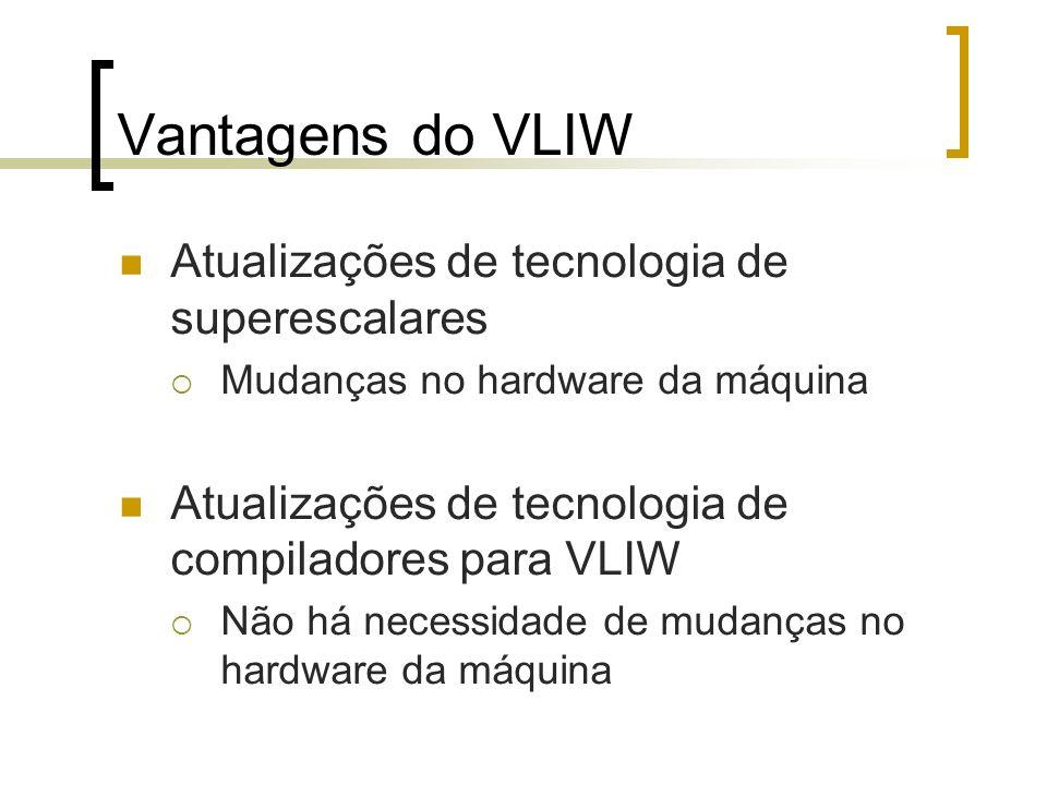 Vantagens do VLIW Atualizações de tecnologia de superescalares Mudanças no hardware da máquina Atualizações de tecnologia de compiladores para VLIW Não há necessidade de mudanças no hardware da máquina
