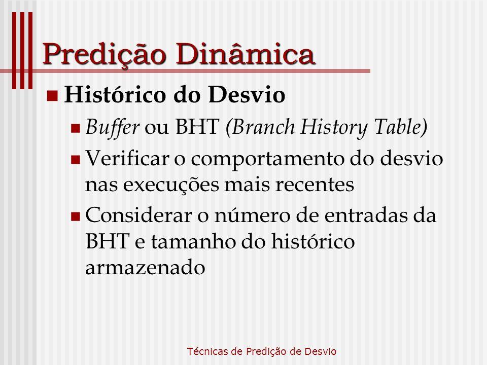 Técnicas de Predição de Desvio Predição Dinâmica Histórico do Desvio Buffer ou BHT (Branch History Table) Verificar o comportamento do desvio nas exec