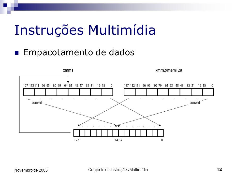 Conjunto de Instruções Multimídia12 Novembro de 2005 Instruções Multimídia Empacotamento de dados
