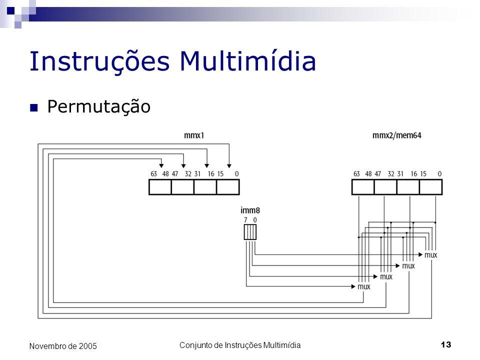 Conjunto de Instruções Multimídia13 Novembro de 2005 Instruções Multimídia Permutação