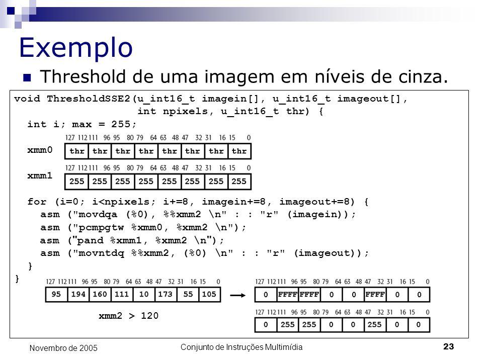 Conjunto de Instruções Multimídia23 Novembro de 2005 Exemplo Threshold de uma imagem em níveis de cinza. void ThresholdSSE2(u_int16_t imagein[], u_int