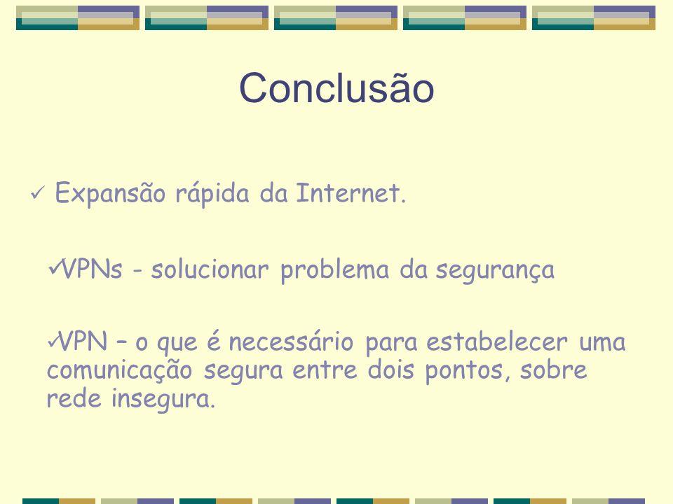 Conclusão Expansão rápida da Internet. VPN – o que é necessário para estabelecer uma comunicação segura entre dois pontos, sobre rede insegura. VPNs -