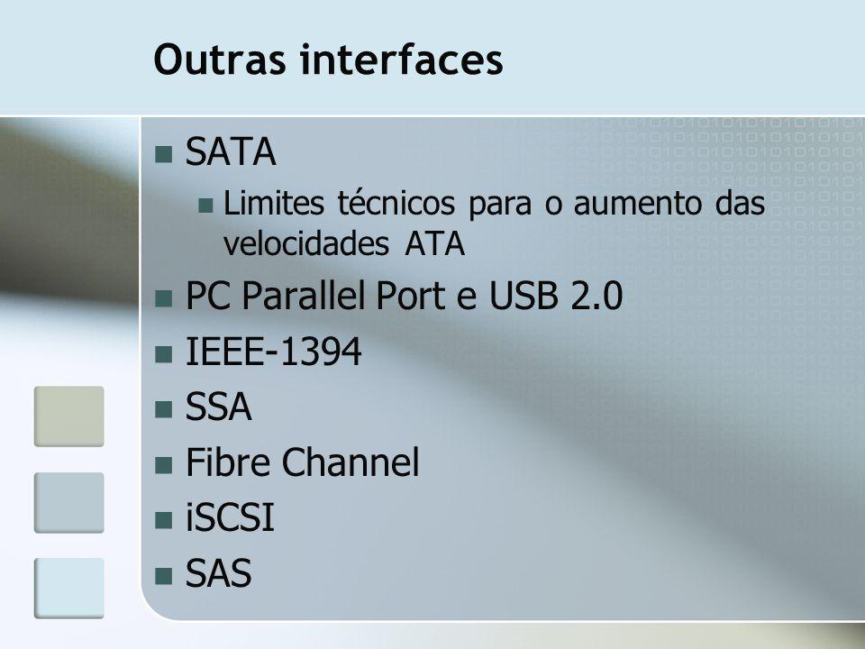 Outras interfaces SATA Limites técnicos para o aumento das velocidades ATA PC Parallel Port e USB 2.0 IEEE-1394 SSA Fibre Channel iSCSI SAS