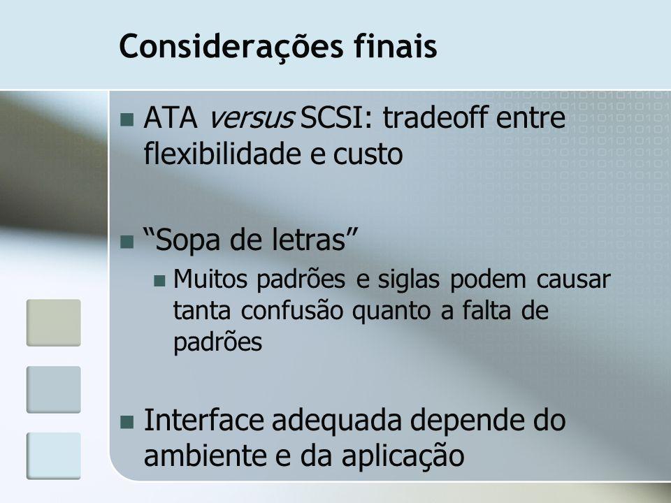 Considerações finais ATA versus SCSI: tradeoff entre flexibilidade e custo Sopa de letras Muitos padrões e siglas podem causar tanta confusão quanto a
