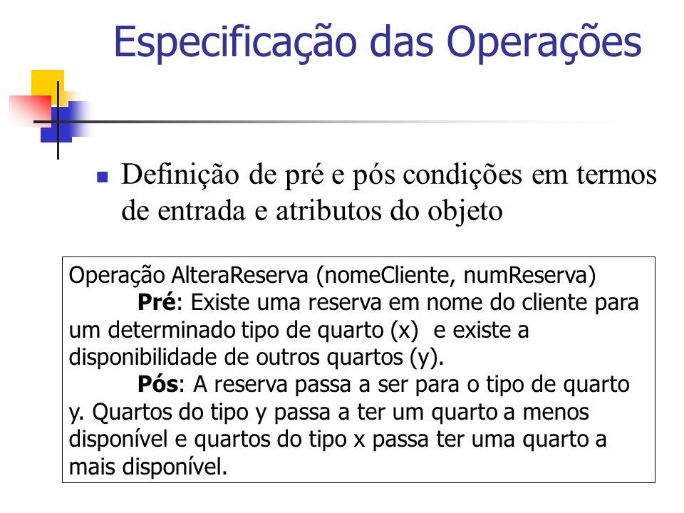 Especificação das Operações Definição de pré e pós condições em termos de entrada e atributos do objeto Operação AlteraReserva (nomeCliente, numReserv