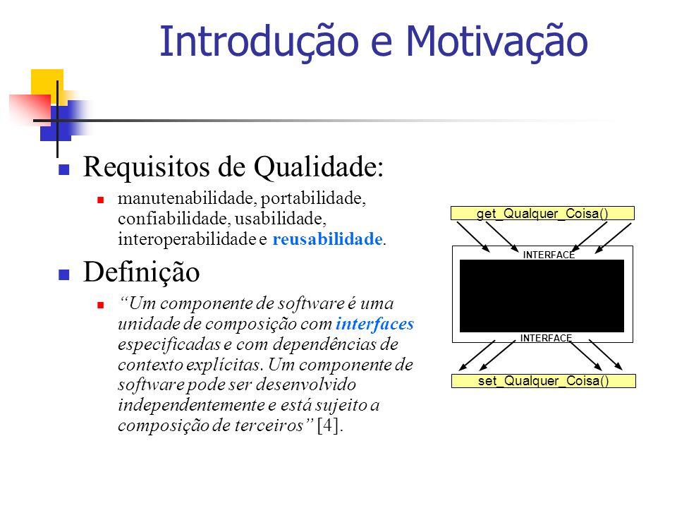Introdução e Motivação Requisitos de Qualidade: manutenabilidade, portabilidade, confiabilidade, usabilidade, interoperabilidade e reusabilidade. Defi