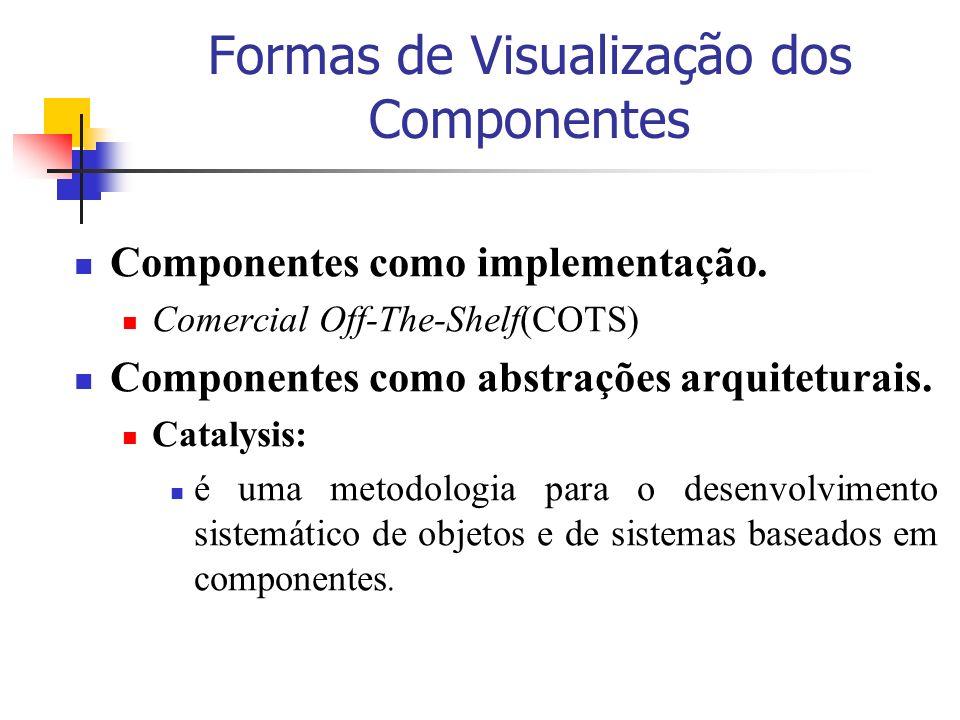 Formas de Visualização dos Componentes Componentes como implementação. Comercial Off-The-Shelf(COTS) Componentes como abstrações arquiteturais. Cataly