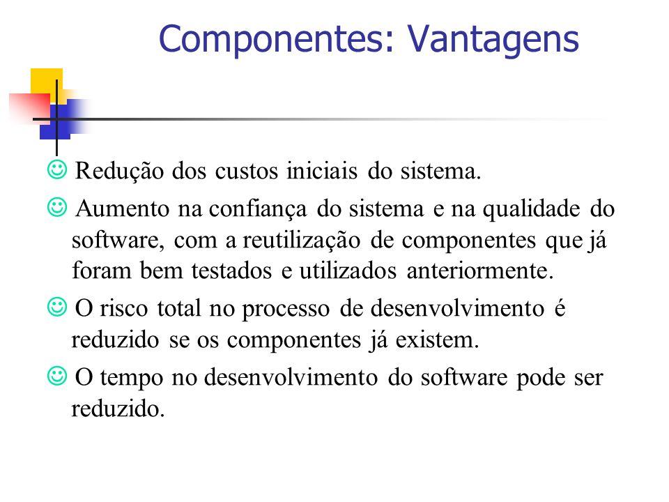 Componentes: Vantagens Redução dos custos iniciais do sistema. Aumento na confiança do sistema e na qualidade do software, com a reutilização de compo