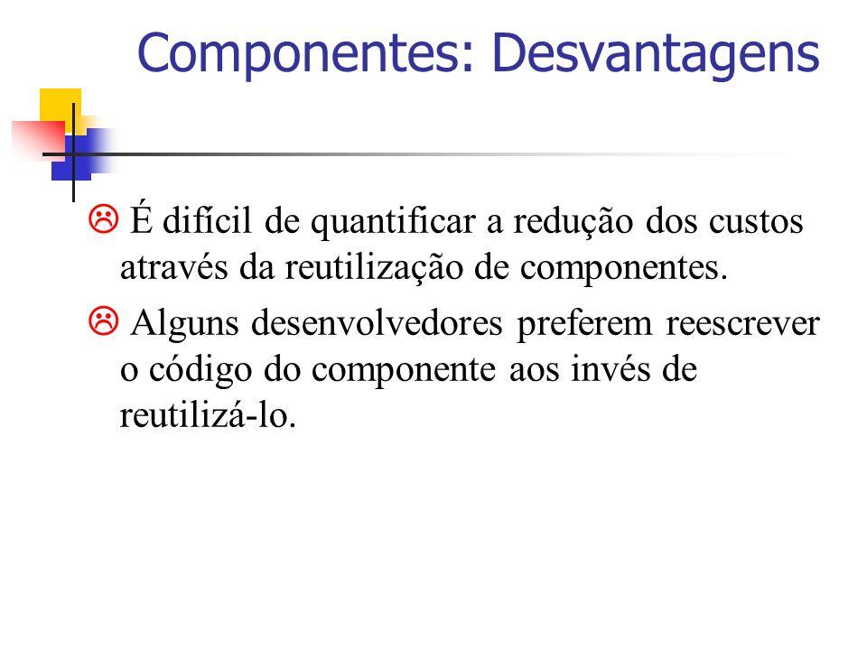 Componentes: Desvantagens É difícil de quantificar a redução dos custos através da reutilização de componentes. Alguns desenvolvedores preferem reescr