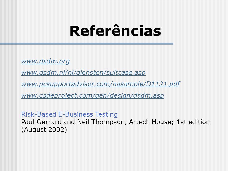 Referências www.dsdm.org www.dsdm.nl/nl/diensten/suitcase.asp www.pcsupportadvisor.com/nasample/D1121.pdf www.codeproject.com/gen/design/dsdm.asp Risk-Based E-Business Testing Paul Gerrard and Neil Thompson, Artech House; 1st edition (August 2002)