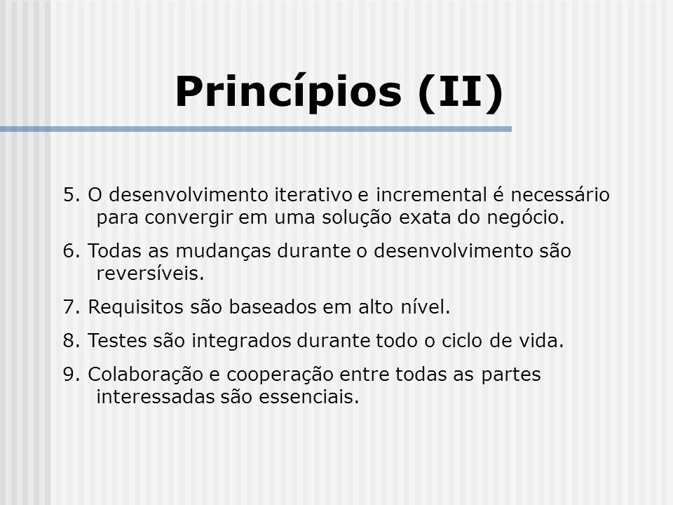 Conclusões (II) Contras: Críticas comuns aos processos ágeis: Ênfase insuficiente na qualidade Pouca documentação Mudança constante nos requisitos durante todo o processo.