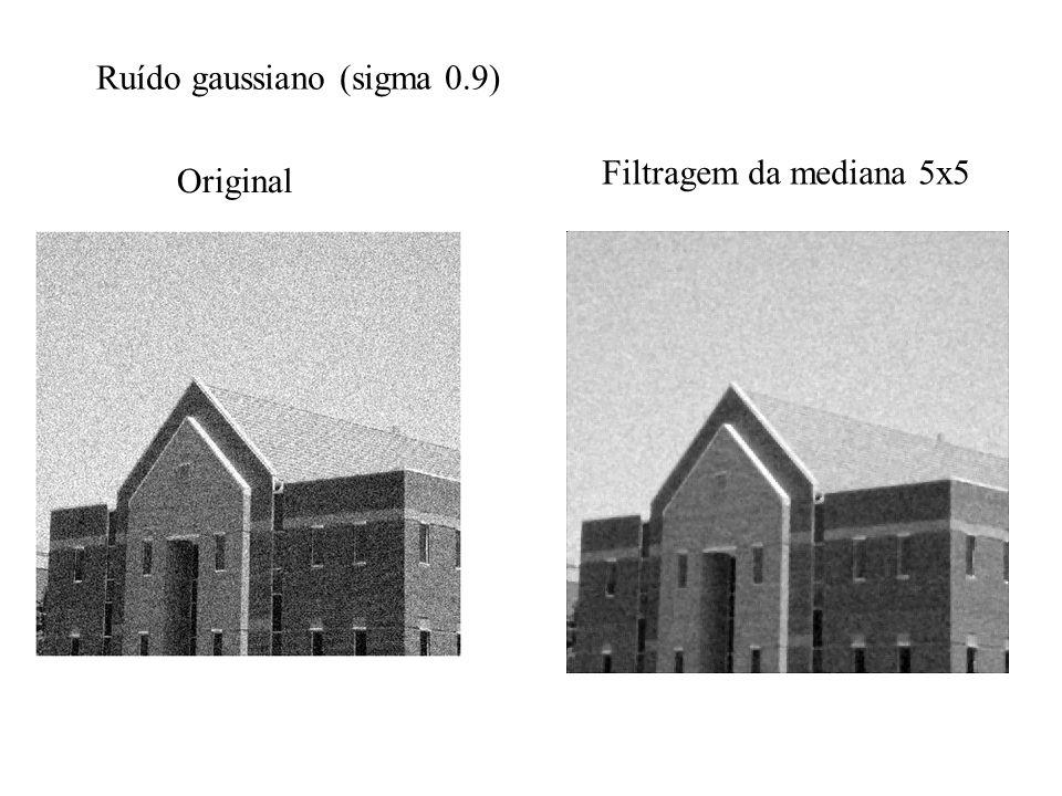 Original Filtragem da mediana 5x5 Ruído gaussiano (sigma 0.9)