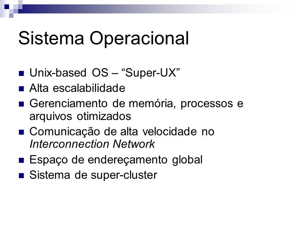 Sistema Operacional Unix-based OS – Super-UX Alta escalabilidade Gerenciamento de memória, processos e arquivos otimizados Comunicação de alta velocidade no Interconnection Network Espaço de endereçamento global Sistema de super-cluster