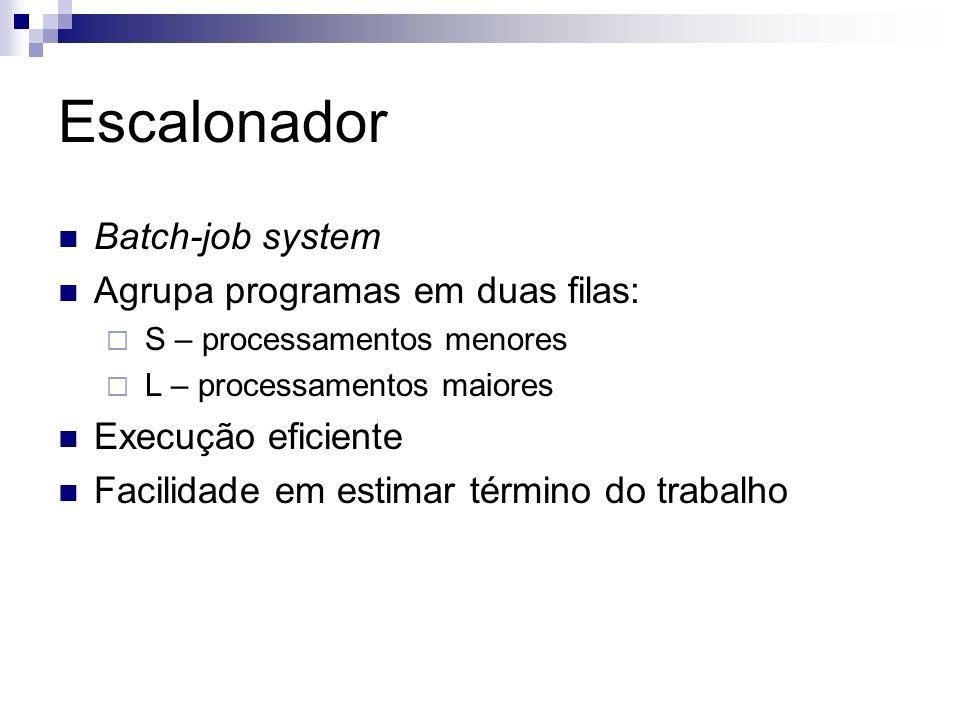 Escalonador Batch-job system Agrupa programas em duas filas: S – processamentos menores L – processamentos maiores Execução eficiente Facilidade em estimar término do trabalho