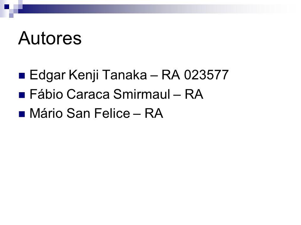 Autores Edgar Kenji Tanaka – RA 023577 Fábio Caraca Smirmaul – RA Mário San Felice – RA