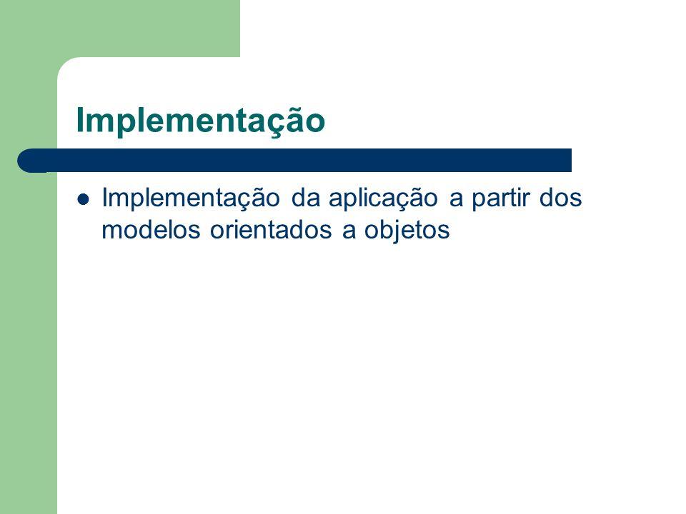 Implementação Implementação da aplicação a partir dos modelos orientados a objetos